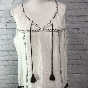 LOFT Tassel Trim Sleeveless Top